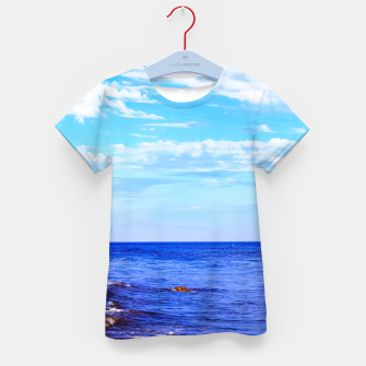 Miniatur blue ocean view with blue cloudy sky in summer Kid's t-shirt, Live Heroes