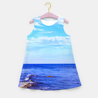 Miniatur blue ocean view with blue cloudy sky in summer Girl's summer dress, Live Heroes