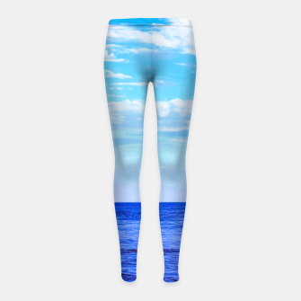 Miniatur blue ocean view with blue cloudy sky in summer Girl's leggings, Live Heroes