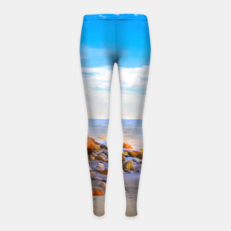 Miniatur sandy beach with blue cloudy sky in summer Girl's leggings, Live Heroes