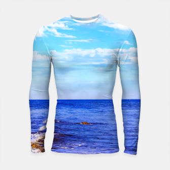 Miniatur blue ocean view with blue cloudy sky in summer Longsleeve rashguard , Live Heroes
