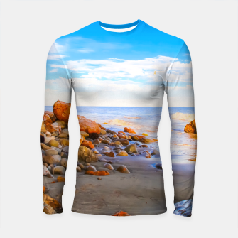 Miniatur sandy beach with blue cloudy sky in summer Longsleeve rashguard , Live Heroes