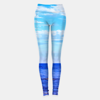 Miniatur blue ocean view with blue cloudy sky in summer Leggings, Live Heroes