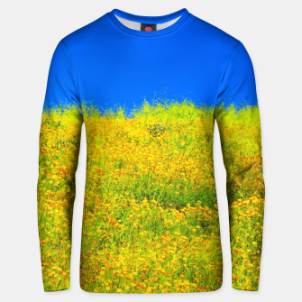 Miniatur yellow poppy flower field with green leaf and clear blue sky Unisex sweater, Live Heroes