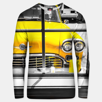 Thumbnail image of vintage yellow taxi car with black and white background Unisex sweater, Live Heroes