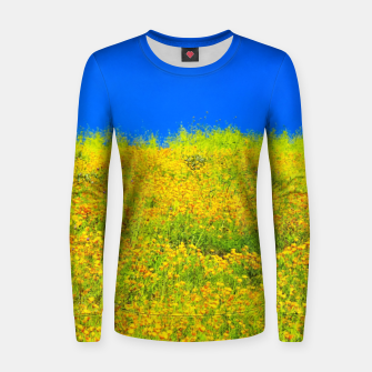 Miniatur yellow poppy flower field with green leaf and clear blue sky Women sweater, Live Heroes