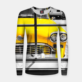 Thumbnail image of vintage yellow taxi car with black and white background Women sweater, Live Heroes