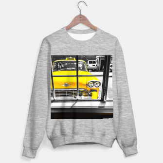 Thumbnail image of vintage yellow taxi car with black and white background Sweater regular, Live Heroes