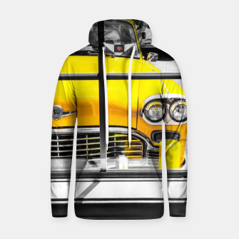 Thumbnail image of vintage yellow taxi car with black and white background Hoodie, Live Heroes