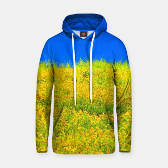 Miniatur yellow poppy flower field with green leaf and clear blue sky Hoodie, Live Heroes