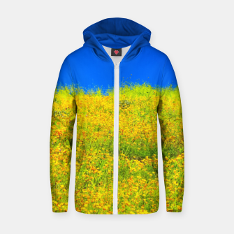 Miniatur yellow poppy flower field with green leaf and clear blue sky Zip up hoodie, Live Heroes