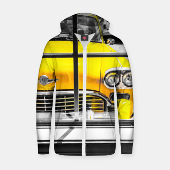 Thumbnail image of vintage yellow taxi car with black and white background Zip up hoodie, Live Heroes