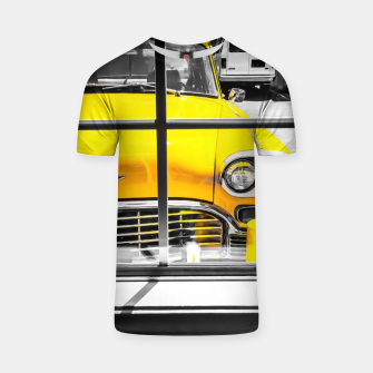 Thumbnail image of vintage yellow taxi car with black and white background T-shirt, Live Heroes