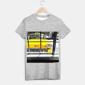 Thumbnail image of vintage yellow taxi car with black and white background T-shirt regular, Live Heroes
