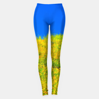 Miniatur yellow poppy flower field with green leaf and clear blue sky Leggings, Live Heroes