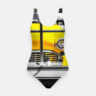 Thumbnail image of vintage yellow taxi car with black and white background Swimsuit, Live Heroes