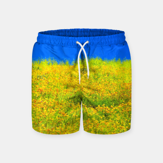 Miniatur yellow poppy flower field with green leaf and clear blue sky Swim Shorts, Live Heroes