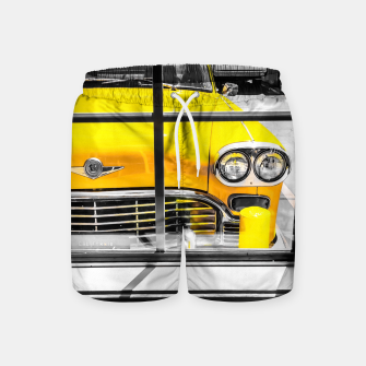 Thumbnail image of vintage yellow taxi car with black and white background Swim Shorts, Live Heroes