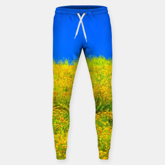 Miniatur yellow poppy flower field with green leaf and clear blue sky Sweatpants, Live Heroes