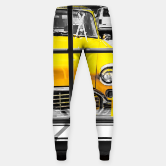 Thumbnail image of vintage yellow taxi car with black and white background Sweatpants, Live Heroes