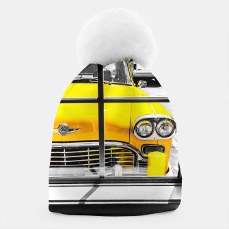 Thumbnail image of vintage yellow taxi car with black and white background Beanie, Live Heroes