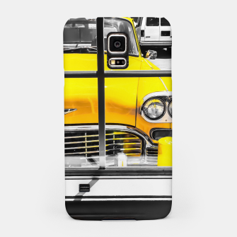 Thumbnail image of vintage yellow taxi car with black and white background Samsung Case, Live Heroes
