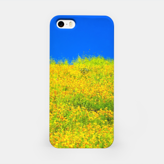 Miniatur yellow poppy flower field with green leaf and clear blue sky iPhone Case, Live Heroes