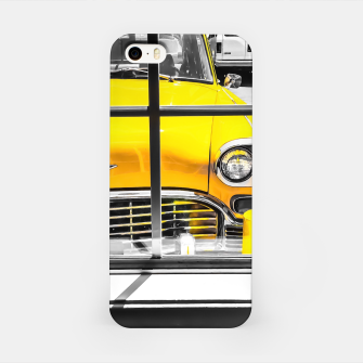 Thumbnail image of vintage yellow taxi car with black and white background iPhone Case, Live Heroes