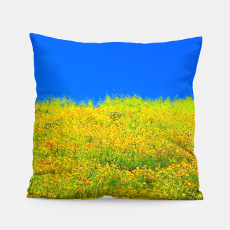 Miniatur yellow poppy flower field with green leaf and clear blue sky Pillow, Live Heroes