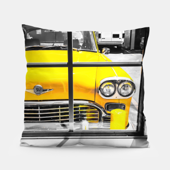 Thumbnail image of vintage yellow taxi car with black and white background Pillow, Live Heroes