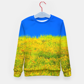 Miniatur yellow poppy flower field with green leaf and clear blue sky Kid's sweater, Live Heroes
