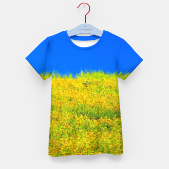 Miniatur yellow poppy flower field with green leaf and clear blue sky Kid's t-shirt, Live Heroes
