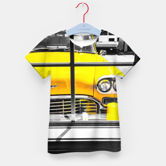 Thumbnail image of vintage yellow taxi car with black and white background Kid's t-shirt, Live Heroes