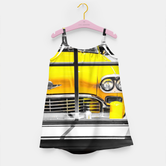Thumbnail image of vintage yellow taxi car with black and white background Girl's dress, Live Heroes