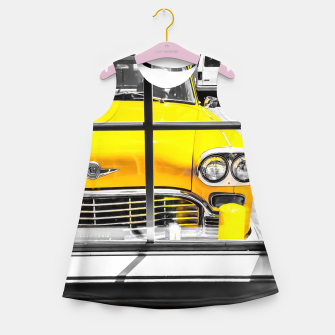 Thumbnail image of vintage yellow taxi car with black and white background Girl's summer dress, Live Heroes