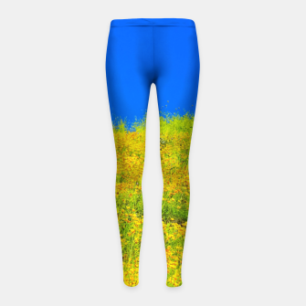 Miniatur yellow poppy flower field with green leaf and clear blue sky Girl's leggings, Live Heroes