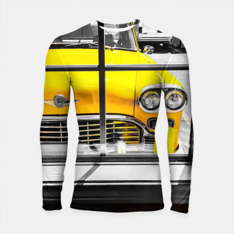 Thumbnail image of vintage yellow taxi car with black and white background Longsleeve rashguard , Live Heroes