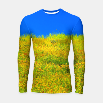 Miniatur yellow poppy flower field with green leaf and clear blue sky Longsleeve rashguard , Live Heroes