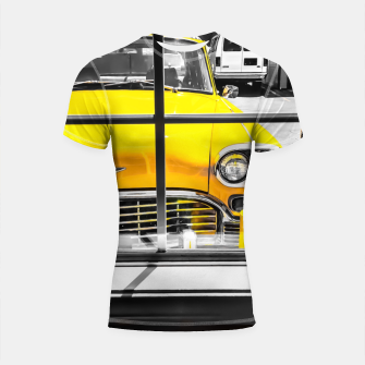 Thumbnail image of vintage yellow taxi car with black and white background Shortsleeve rashguard, Live Heroes