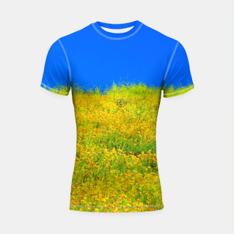 Miniatur yellow poppy flower field with green leaf and clear blue sky Shortsleeve rashguard, Live Heroes