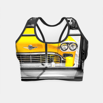 Thumbnail image of vintage yellow taxi car with black and white background Crop Top, Live Heroes
