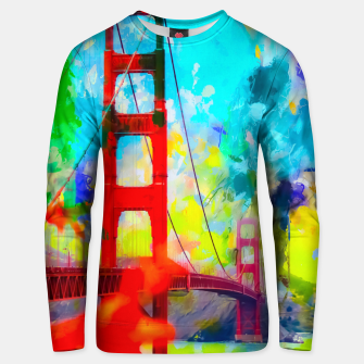 Thumbnail image of Golden Gate bridge, San Francisco, USA with blue yellow green painting abstract background Unisex sweater, Live Heroes