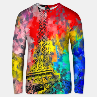 Thumbnail image of Eiffel Tower at Paris hotel and casino, Las Vegas, USA,with red blue yellow painting abstract background Unisex sweater, Live Heroes
