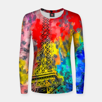 Thumbnail image of Eiffel Tower at Paris hotel and casino, Las Vegas, USA,with red blue yellow painting abstract background Women sweater, Live Heroes