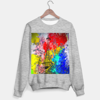 Thumbnail image of Eiffel Tower at Paris hotel and casino, Las Vegas, USA,with red blue yellow painting abstract background Sweater regular, Live Heroes