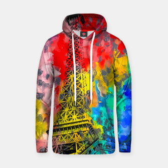 Thumbnail image of Eiffel Tower at Paris hotel and casino, Las Vegas, USA,with red blue yellow painting abstract background Hoodie, Live Heroes