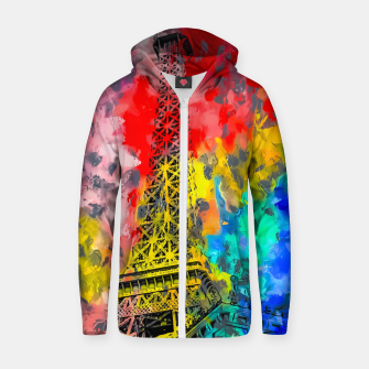 Thumbnail image of Eiffel Tower at Paris hotel and casino, Las Vegas, USA,with red blue yellow painting abstract background Zip up hoodie, Live Heroes
