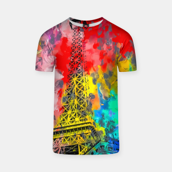 Thumbnail image of Eiffel Tower at Paris hotel and casino, Las Vegas, USA,with red blue yellow painting abstract background T-shirt, Live Heroes