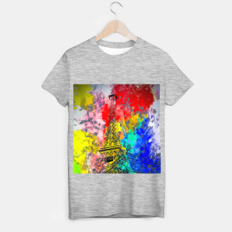 Thumbnail image of Eiffel Tower at Paris hotel and casino, Las Vegas, USA,with red blue yellow painting abstract background T-shirt regular, Live Heroes