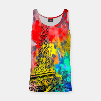 Thumbnail image of Eiffel Tower at Paris hotel and casino, Las Vegas, USA,with red blue yellow painting abstract background Tank Top, Live Heroes